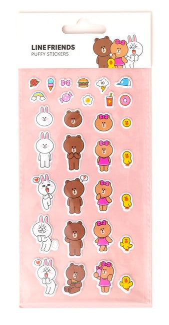 Line Friends Puffy Stickers