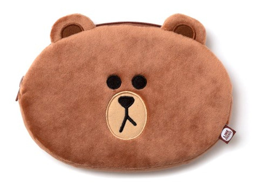 Line Friends Plush Pencil Case (Brown)
